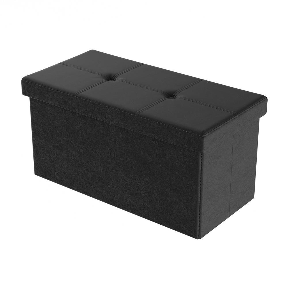 Black Faux Leather Large Foldable Storage Bench Ottoman