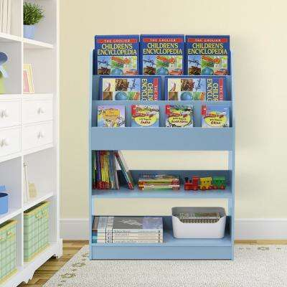 KidKanac Light Blue Toy Storage Cabinet Bookshelf