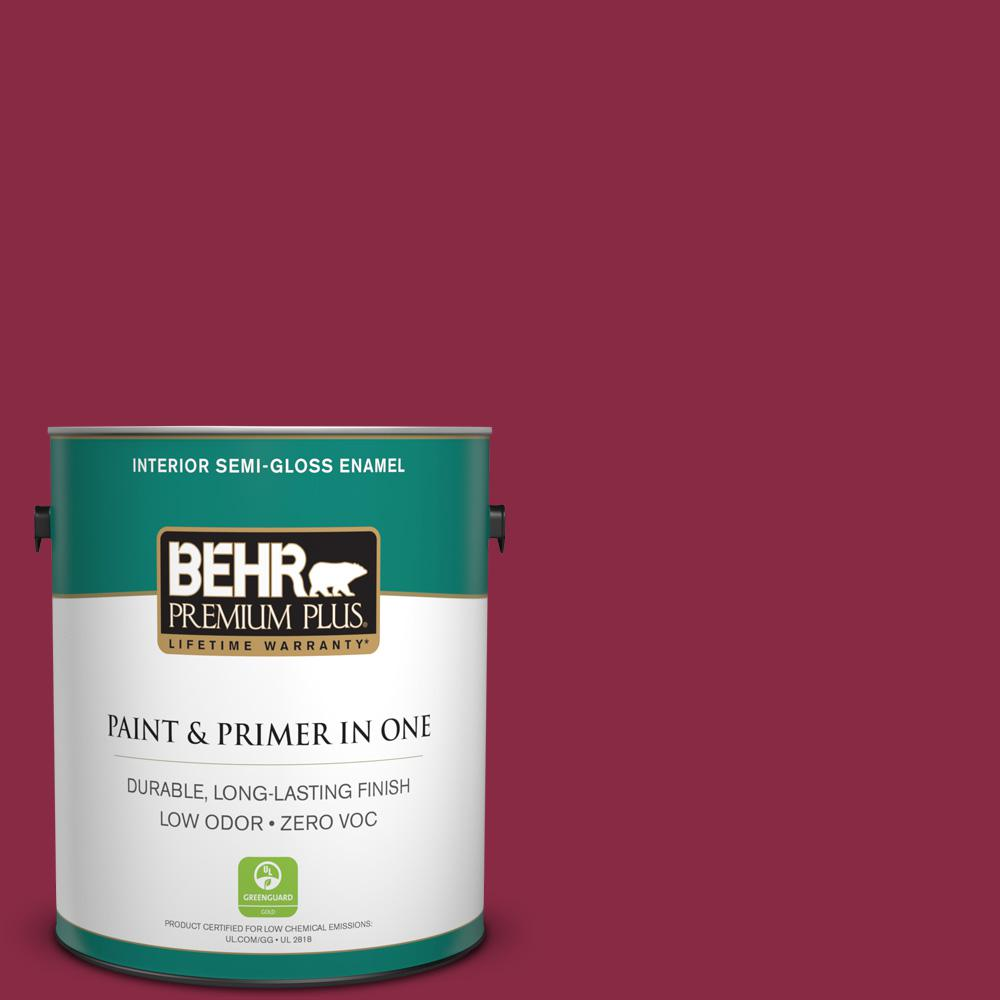 BEHR Premium Plus 1-gal. #130D-7 Cranapple Zero VOC Semi-Gloss Enamel Interior Paint