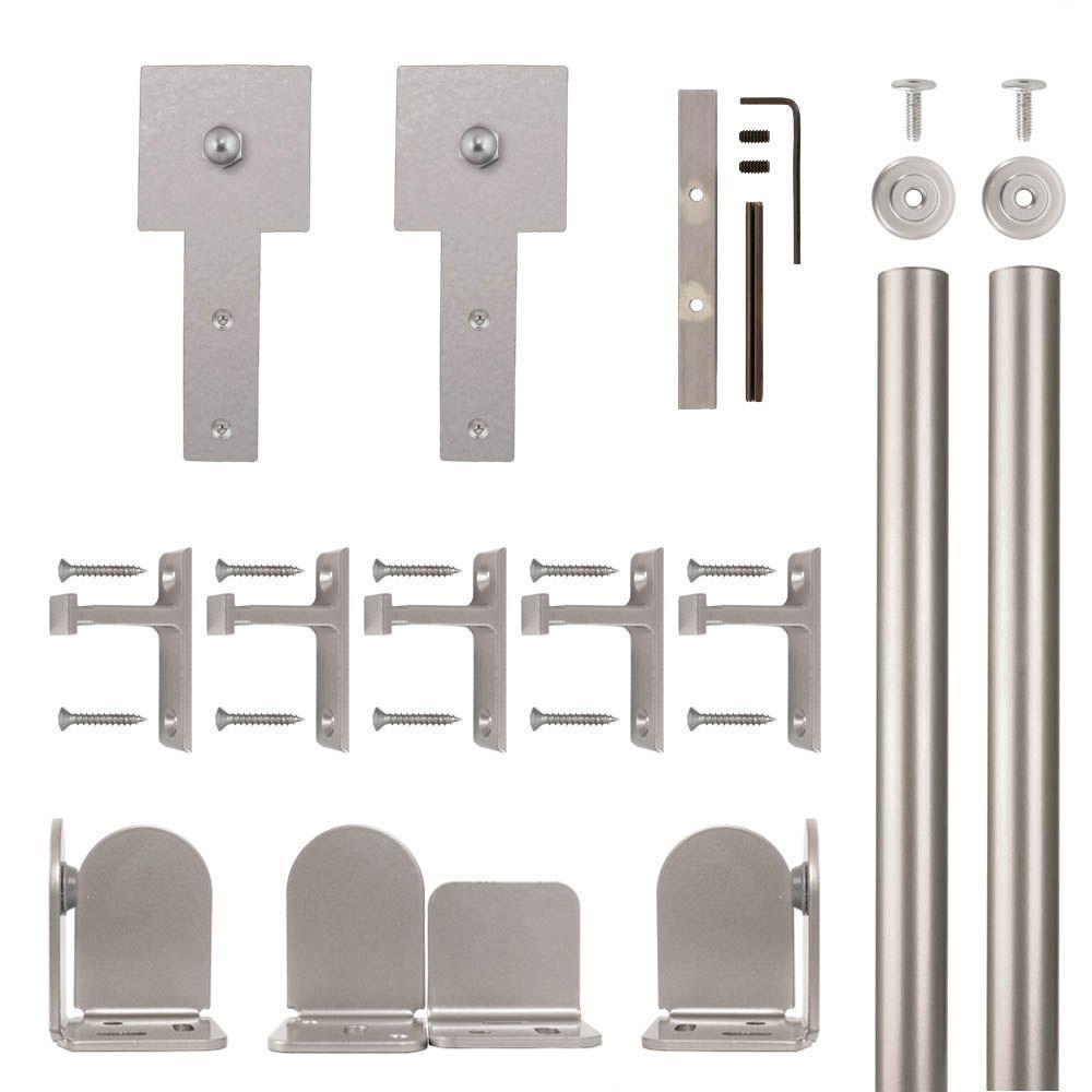 Cube Stick Satin Nickel Rolling Door Hardware Kit for 1-1/2 in. to 2-1/4 in. Door