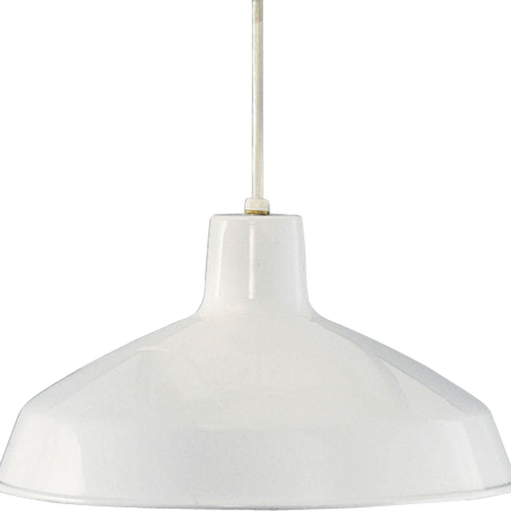 Progress Lighting 1-Light White Pendant with Metal Shade