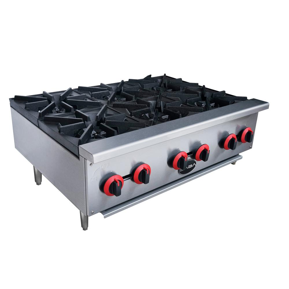 Commercial Gas Hotplate Cooktop In Stainless Steel With 6 Burners