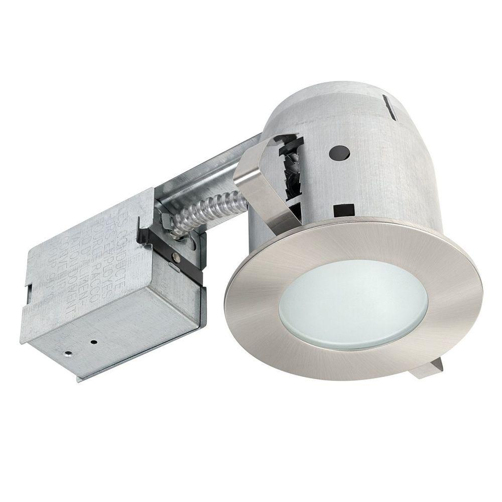 Globe electric 4 in brushed nickel ic rated bathroom recessed brushed nickel ic rated bathroom recessed lighting kit led bulb included 90972 the home depot aloadofball Images