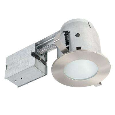 4 in. Brushed Nickel IC Rated Bathroom Recessed Lighting Kit, LED Bulb Included