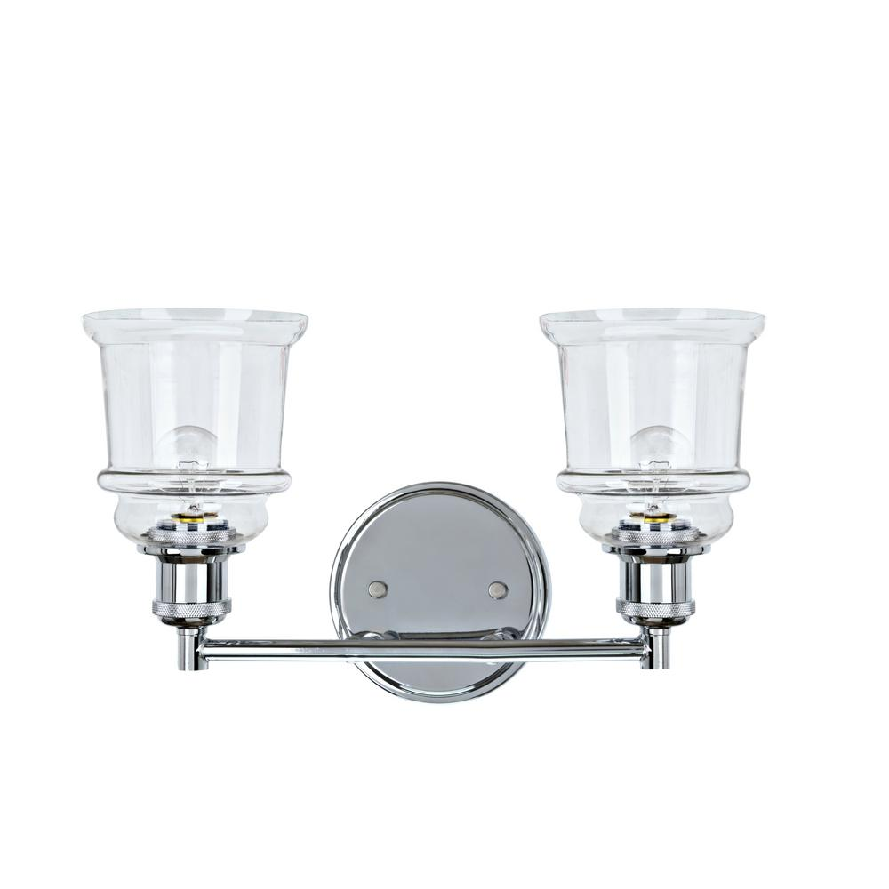 new product cc511 d0fe7 Aspen Creative Corporation 2-Light Chrome Vanity Light with Clear Glass  Shade