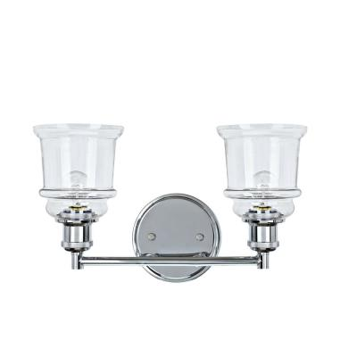 2-Light Chrome Vanity Light with Clear Glass Shade