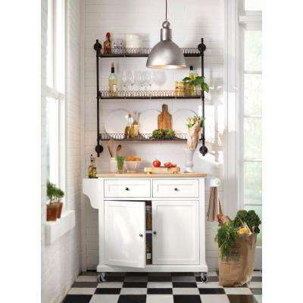 Fynn White Kitchen Cart With Oak Top