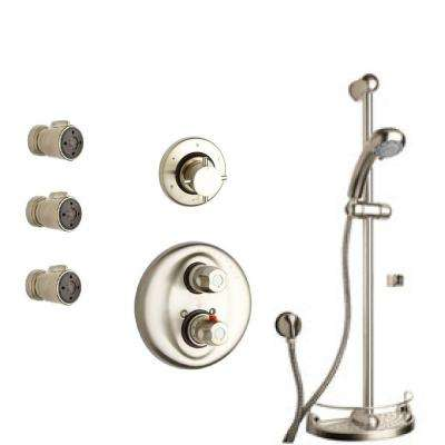 Water Harmony 2-Spray Slide Bar Shower Kit with Handheld Shower and 3 Body Jets in Brushed Nickel (Valve Included)