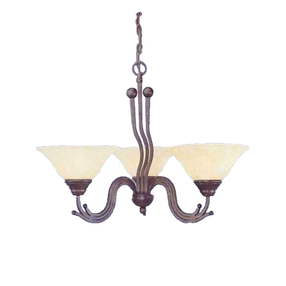 Filament Design Concord Series 3-Light Bronze Chandelier with Amber Marble Glass Shade
