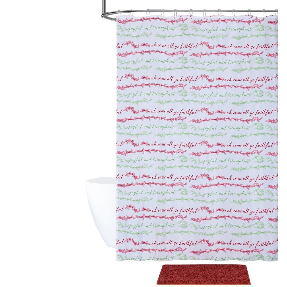 Oh Come All Ye Faithful Shower Curtain and Bath Rug Set (14-Piece)