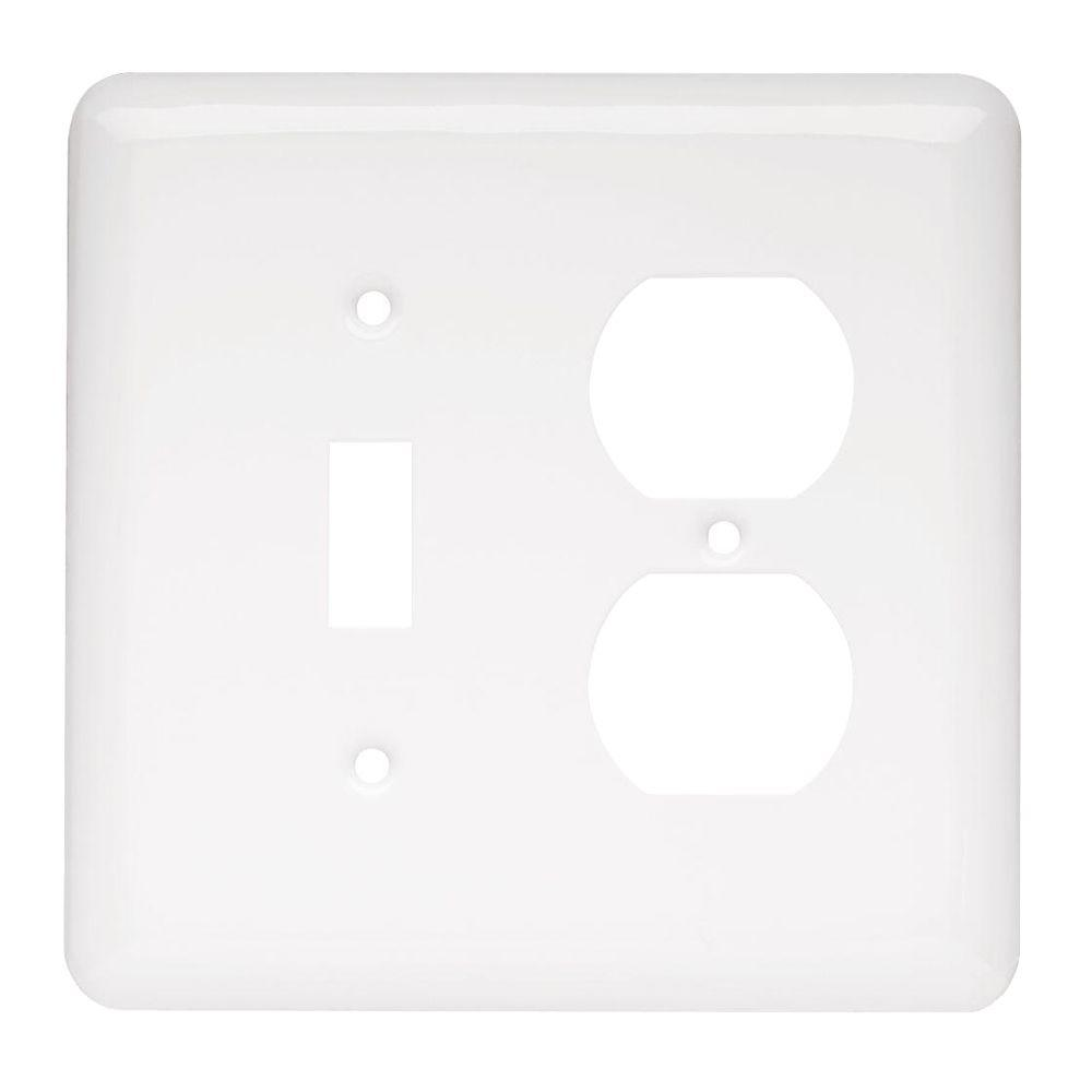 Liberty White 2-Gang 1-Toggle/1-Duplex Wall Plate (1-Pack)