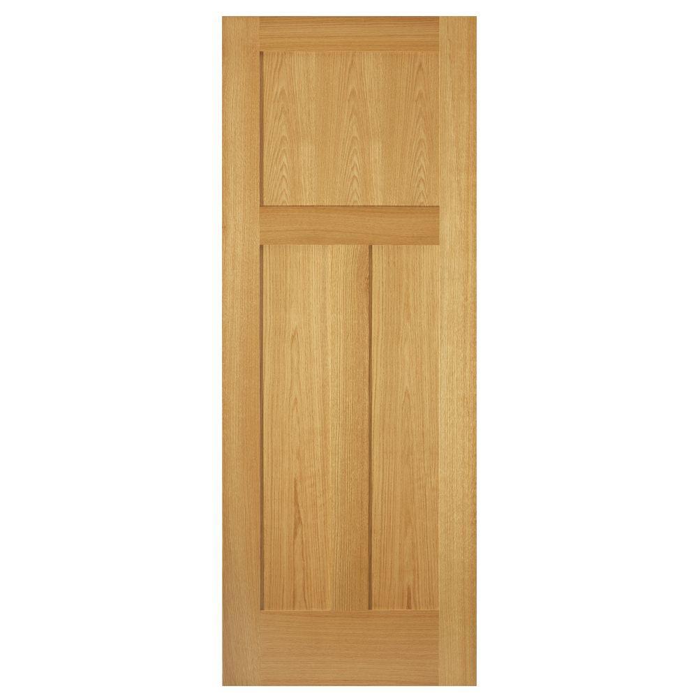 3 Panel Mission Unfinished Red Oak Interior Door Slab