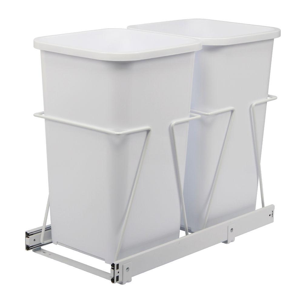 Real Solutions for Real Life 19 in. H x 11 in. W. 23 in. D Steel In-Cabinet 27 Qt. Double Pull-Out Trash Can in White