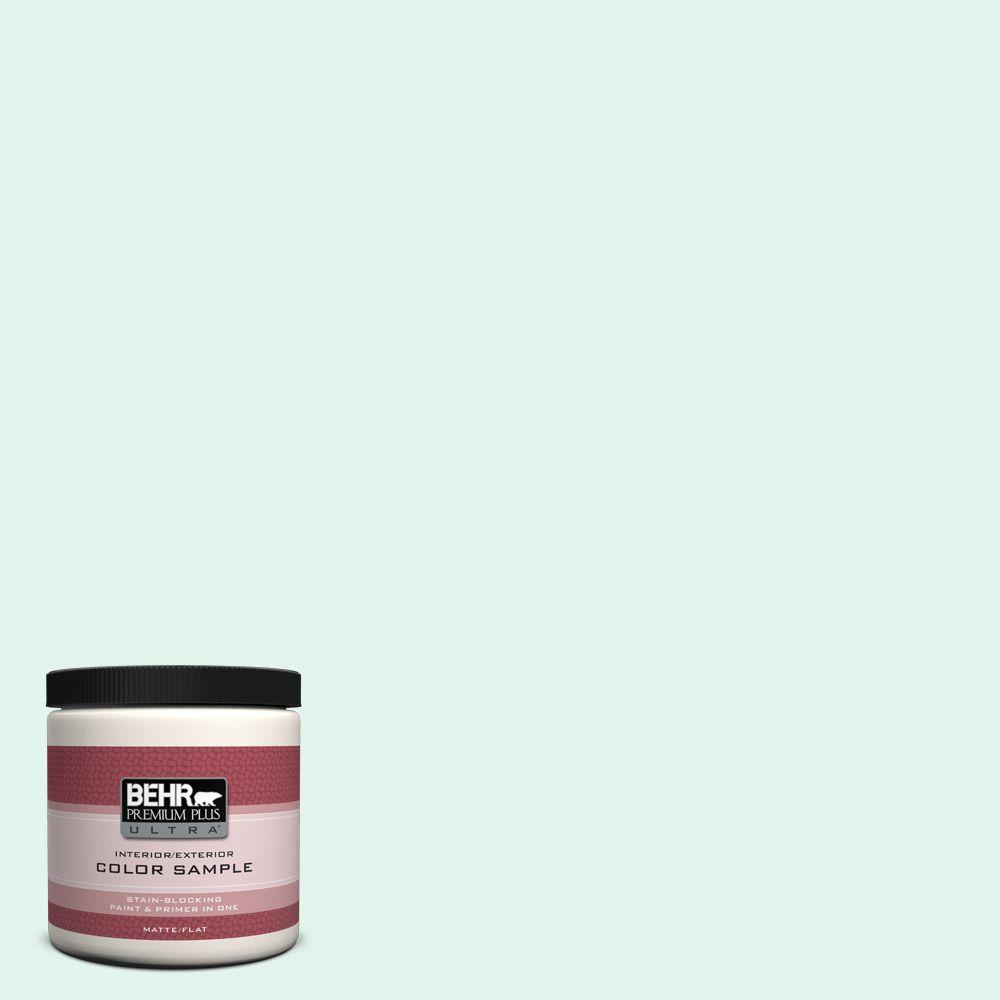 BEHR Premium Plus Ultra 8 oz. #480C-1 Light Mint Flat Interior/Exterior Paint and Primer in One Sample