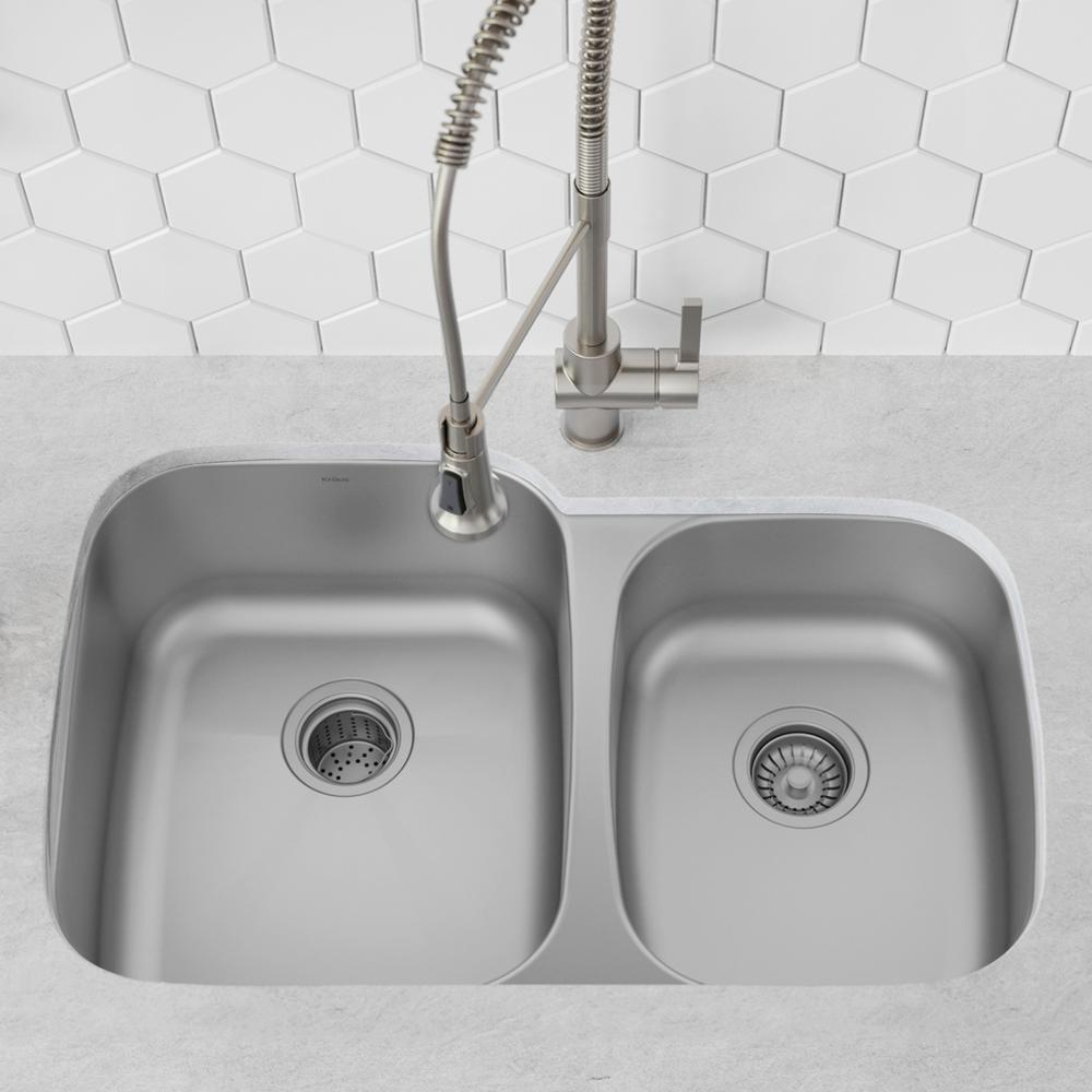 KRAUS KRAUS Premier Undermount Stainless Steel 32 in. 60/40 Double Bowl Kitchen Sink, Silver