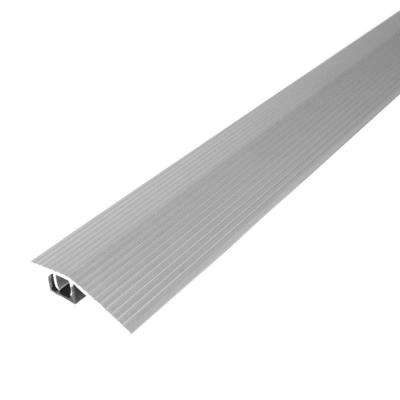 Cinch 1.8125 in. x 36 in. Satin Silver Fluted Reducer Transition Strip for Uneven Floors with Snap Track