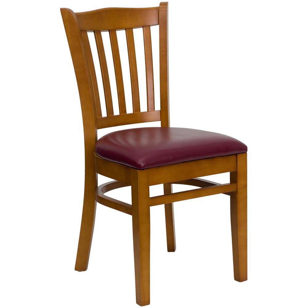 Hercules Series Cherry Vertical Slat Back Wooden Restaurant Chair with Burgundy Vinyl Seat