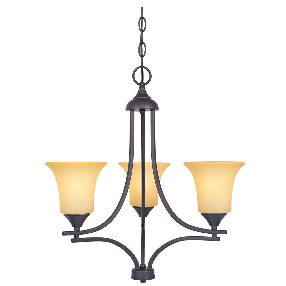 Seville 3-Light Oil Rubbed Bronze Chandelier with Satin Bisque Glass Shades
