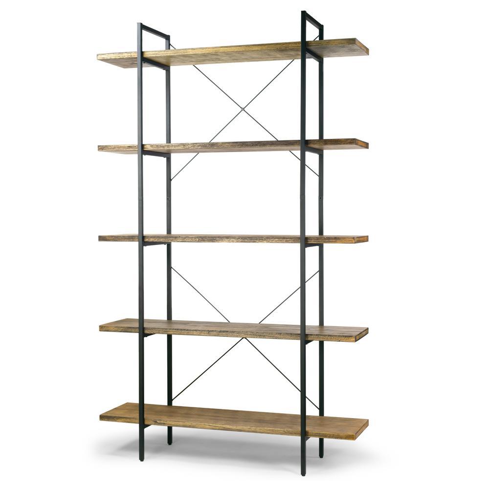 "Amrit 84.5"" Wood Shelf Metal Frame Etagere Bookcase Five-shelf Media Center"