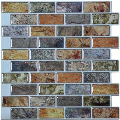 12 in. x 12 in. Peel and Stick Vinyl Backsplash Tile in Colorful Stones Design (6-Pack)