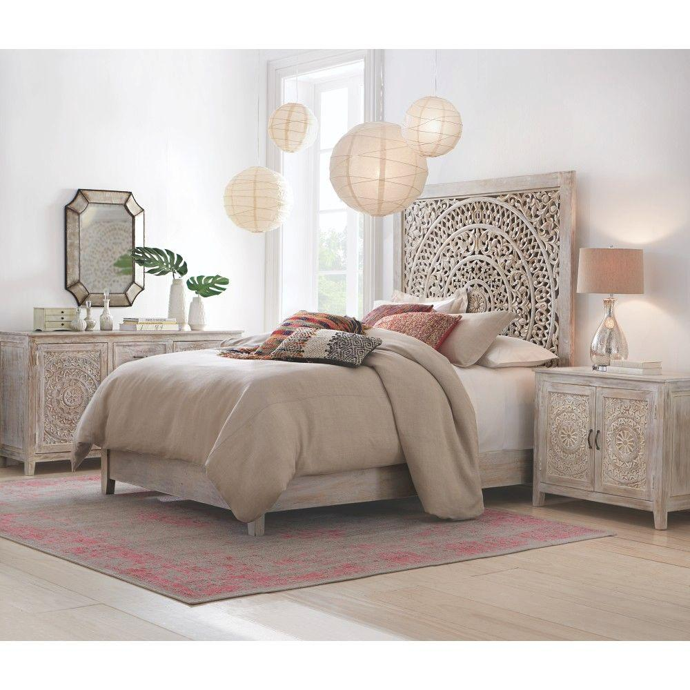 Home Decorators Collection Chennai White Wash King Platform Bed 9467810410 The Home Depot