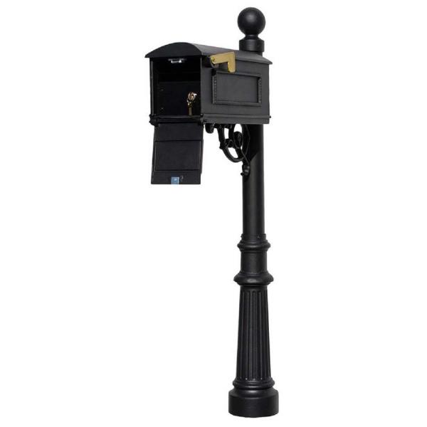 Lewiston Black Post Mount Locking Insert Mailbox with Decorative Fluted Base and Ball Finial