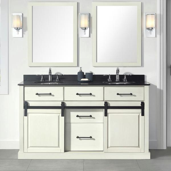 Home Decorators Collection Merceza 60 In W X 22 In D Barn Door Vanity In Antique White With Granite Vanity Top In Black With White Sink Merceza 60 The Home Depot