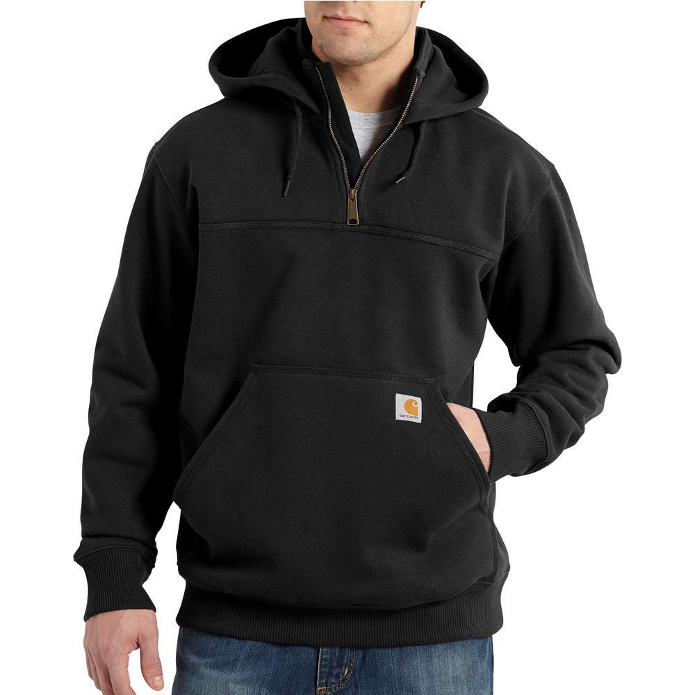 Men's Tall 3X Large Black Cotton/Polyester Rain Defender Paxton Heavyweight Hooded Zip Mock Sweatshirt