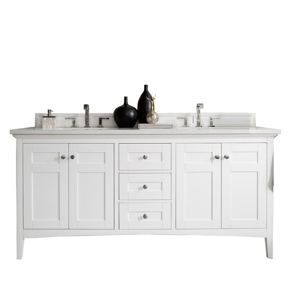 James Martin Vanities Palisades 72 In W Double Vanity Bright White With Soild Surface Top Arctic Fall Basin