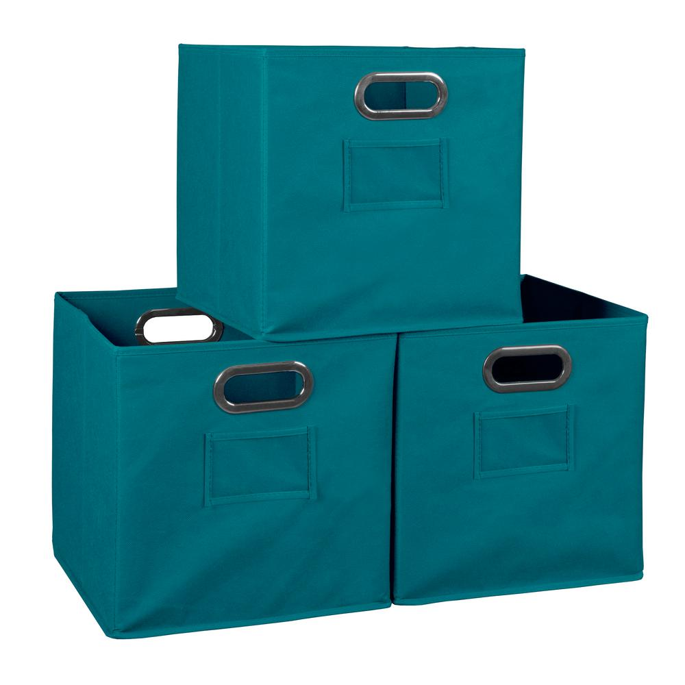 Cubo 12 in. x 12 in. Teal Foldable Fabric Bin (3-Pack)