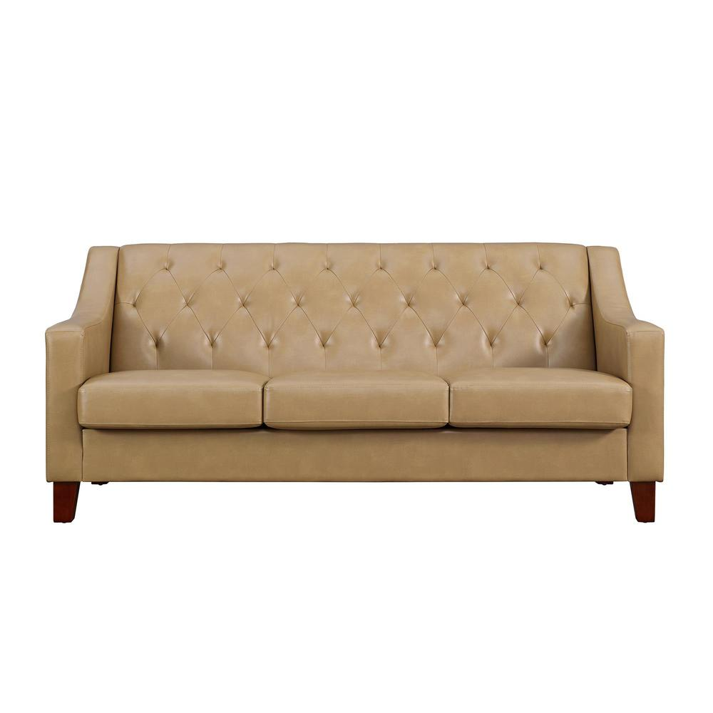 Dorel Living Avalon Taupe Tufted Back Track Arm Sofa