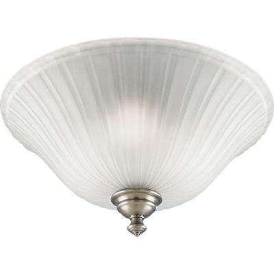Renovations 3-Light Antique Nickel Semi-Flushmount with Etched Glass