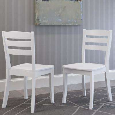 Dillon White Solid Wood Horizontal Salt Backrest Dining Chairs (Set Of 2)