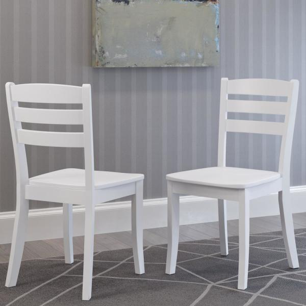 Corliving Dillon White Solid Wood Horizontal Salt Backrest Dining Chairs Set Of 2