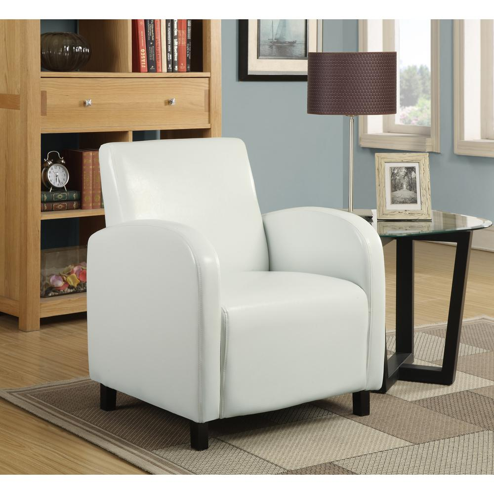 white leather occasional chair monarch white leather look accent chair i 8049 the home 22000 | white monarch accent chairs i 8049 64 1000
