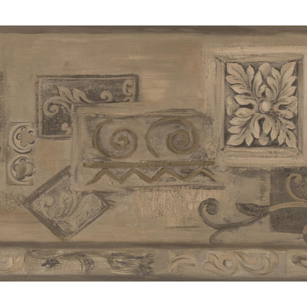 Retro Art Brown Beige Abstract Prepasted Wallpaper Border