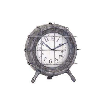 Adrian 9 in. x 8.5 in. Round Iron Table Clock