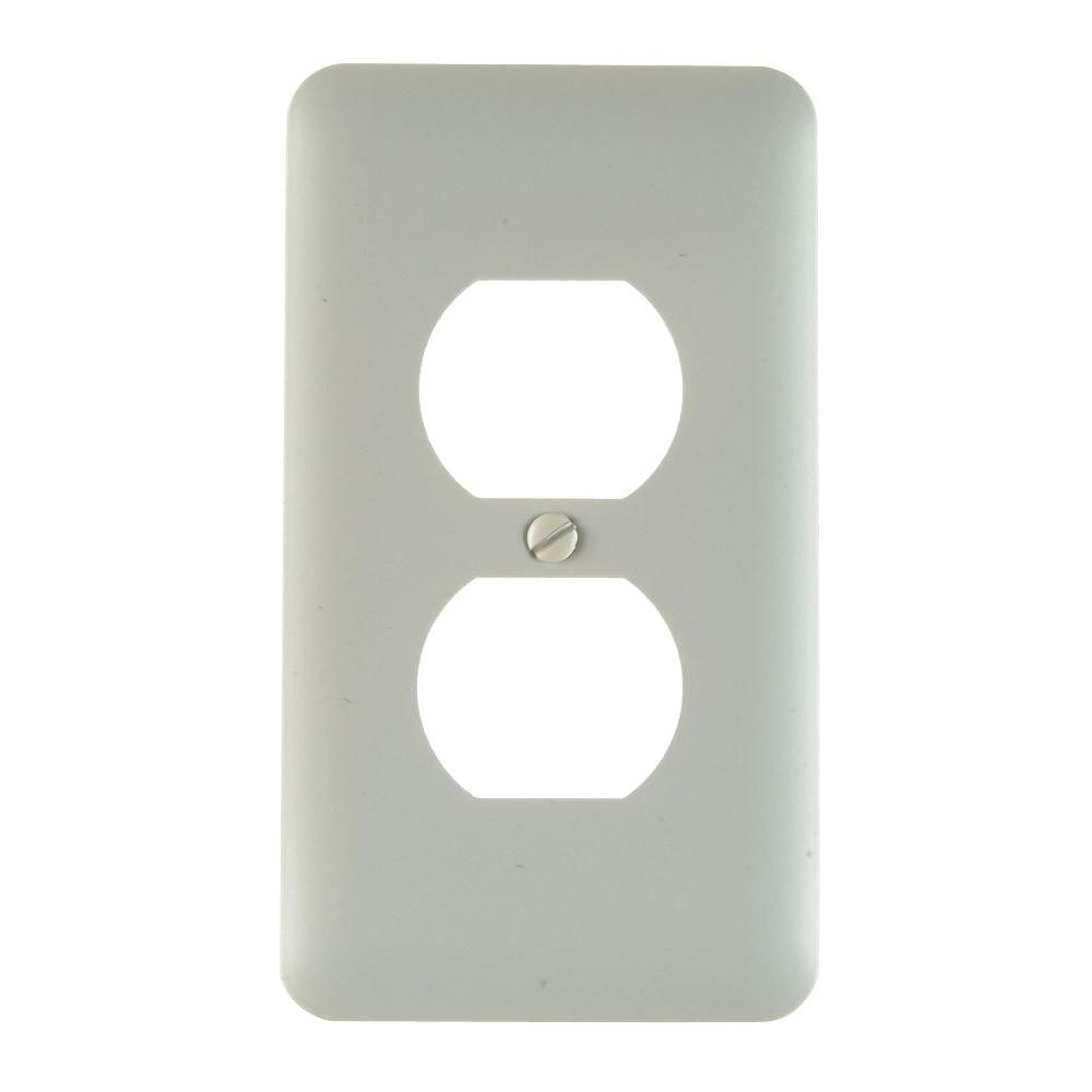 amerelle nouveau ceramic 1 duplex wall plate white3005dw the home depot