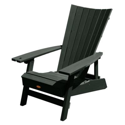 Manhattan Beach Charleston Green Folding and Reclining Recycled Plastic Adirondack Chair with Wine Glass Holder