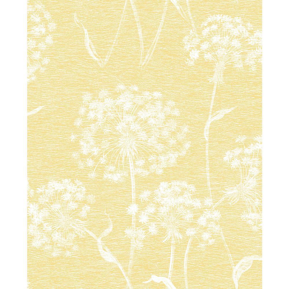56 4 sq ft carolyn yellow dandelion wallpaper