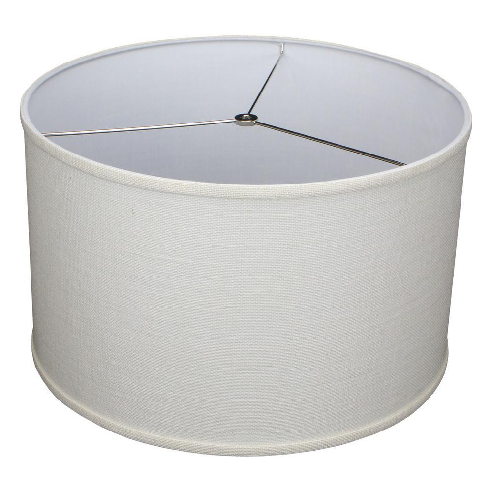 18 in. Top Diameter x 18 in. Bottom Diameter x 11 in. H Burlap Off White Drum Lamp Shade