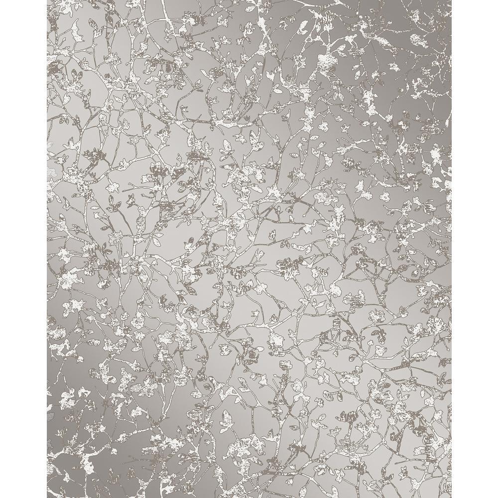 Decorline Palatine Grey Leaves Wallpaper