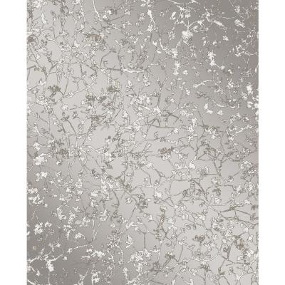 Palatine Grey Leaves Wallpaper Sample