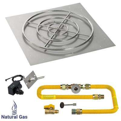 36 in. High-Capacity Square Stainless Steel Flat Pan with Spark Ignition Kit (30 in. Ring) - Natural Gas