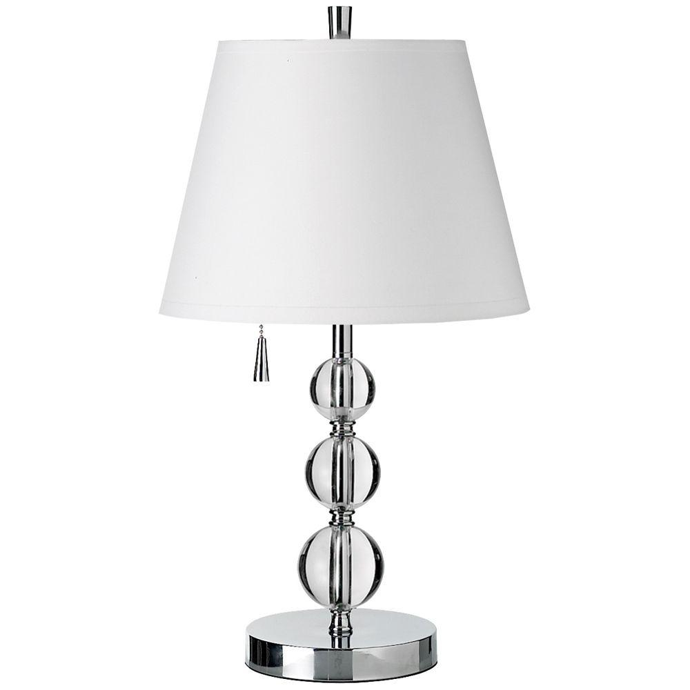 Catherine 20 in. Incandescent Polished Chrome Table Lamp with White Shades