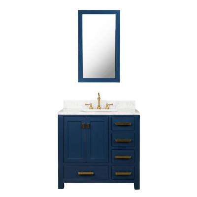 Madison 36 in. W Bath Vanity in Monarch Blue with Marble Vanity Top in Carrara White with White Basin(s)