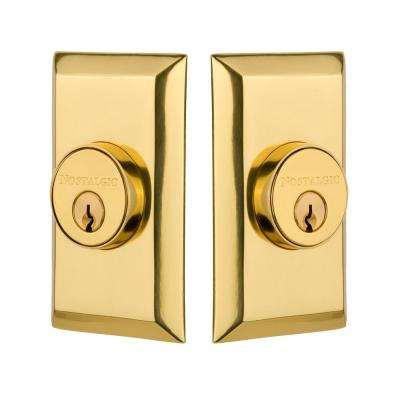 Studio Plate 2-3/4 in. Polished Brass Backset Double Cylinder Deadbolt