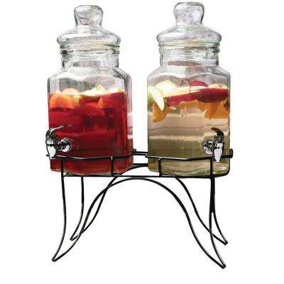 Doppio 1.3 Gal. Each Clear Glass Double Beverage Dispensers with Black Metal Stand