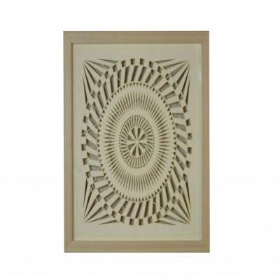 Mariana Stunning Natural Brown Paper and Glass Shadow Wooden Decor