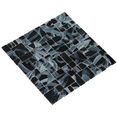 Stella/02, Black/Swirled White, 4 in. x 4 in. x 4 mm Glass Mesh-Mounted Mosaic Tile, Tile Sample
